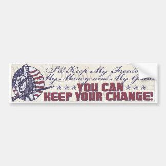 Mi libertad, mi dinero y mi engranaje de los armas pegatina para auto