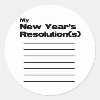 Mi lista de las resoluciones del Año Nuevo Pegatina Redonda