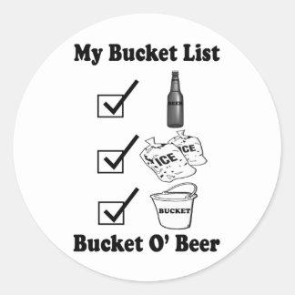 Mi lista del cubo - cerveza de O del cubo Pegatina Redonda