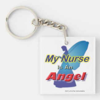 Mi llave 1 del ángel de la enfermera llavero cuadrado acrílico a una cara