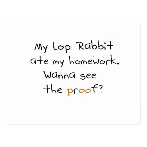 Mi lop el conejo comió mi preparación. ¿Quiera ver Tarjetas Postales
