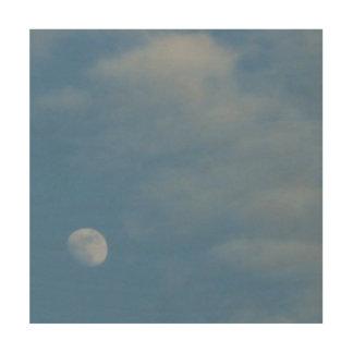 Mi luna diurna - lona respetuosa del medio impresión en madera
