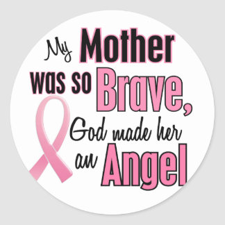 Mi madre es un cáncer de pecho del ángel pegatina redonda