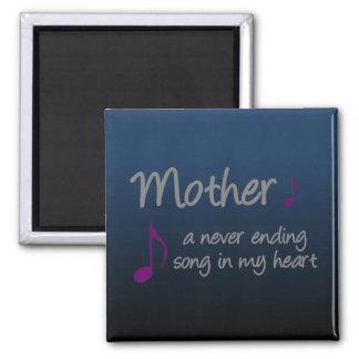 Mi madre es una canción interminable en mi corazón imán cuadrado