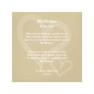 Mi madre - poema, impresiones en lienzo estiradas