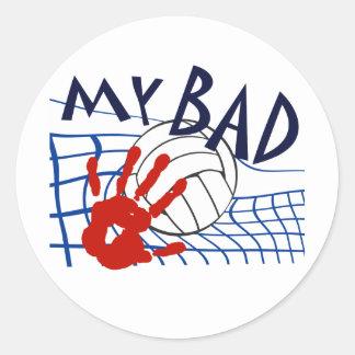 Mi mala red del voleibol pegatina redonda