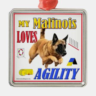 Mi Malinois ama el ornamento de la agilidad Adorno Cuadrado Plateado