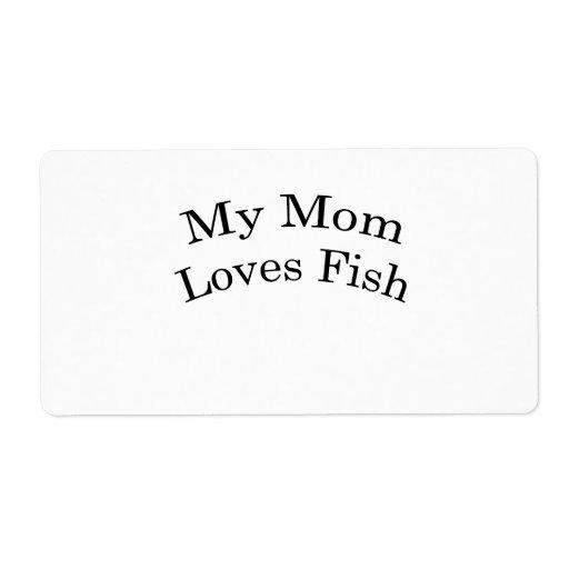 Mi mamá ama pescados etiquetas de envío