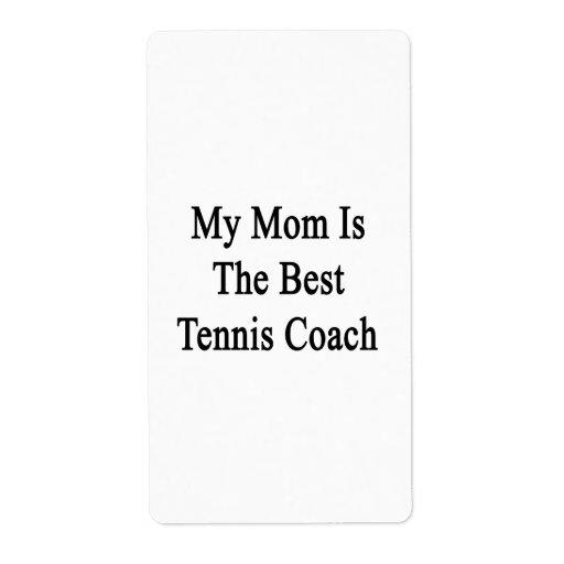 Mi mamá es el mejor coche de tenis etiqueta de envío