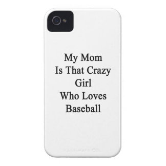 Mi mamá es ese chica loco que ama béisbol iPhone 4 Case-Mate cárcasas