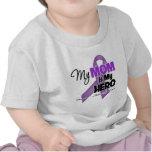 Mi mamá es mi héroe - cinta púrpura camisetas