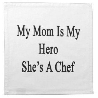 Mi mamá es mi héroe que ella es cocinero servilleta imprimida