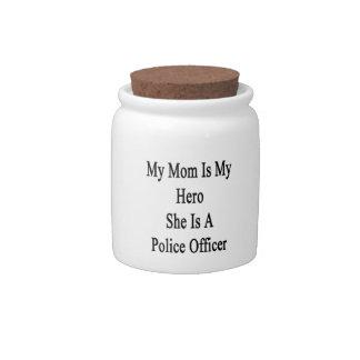 Mi mamá es mi héroe que ella es oficial de policía jarras para caramelos
