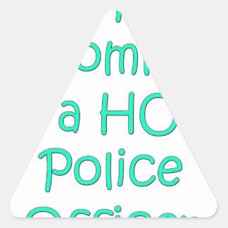 Mi mamá es oficial de policía caliente pegatina triangular
