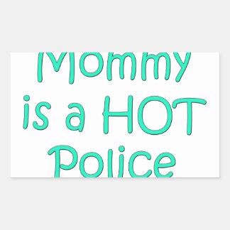 Mi mamá es oficial de policía caliente pegatina rectangular