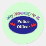 Mi mamá es oficial de policía etiqueta redonda