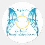 Mi mamá es un ángel pegatinas redondas