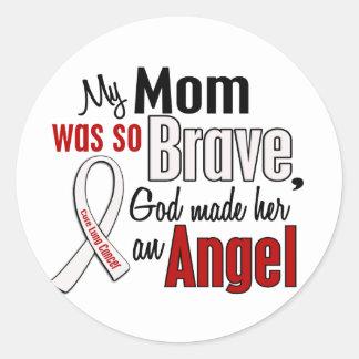 Mi mamá es un cáncer de pulmón del ángel pegatina redonda