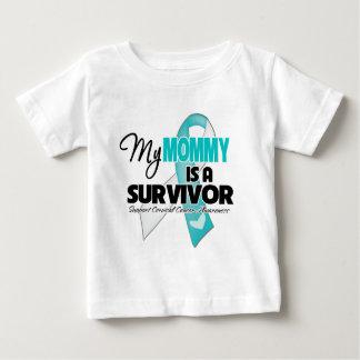 Mi mamá es un superviviente - cáncer de cuello del playera de bebé