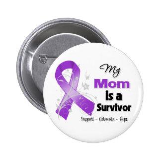 Mi mamá es una cinta de la púrpura del pin redondo de 2 pulgadas