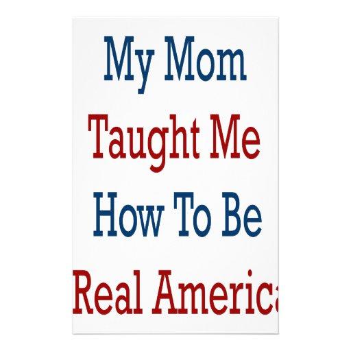 Mi mamá me enseñó a cómo ser un americano real personalized stationery