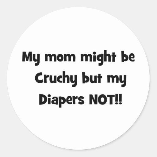 mi mamá pudo ser crujiente pero mis pañales no pegatinas redondas