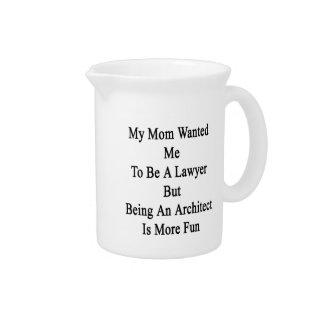 Mi mamá quisiera que fuera abogado pero el ser un jarra para bebida