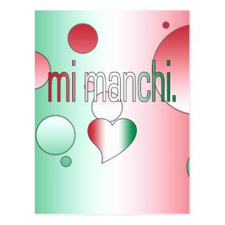 ¡MI Manchi! La bandera de Italia colorea arte pop Postales