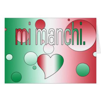 ¡MI Manchi! La bandera de Italia colorea arte pop Tarjeta De Felicitación