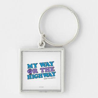 Mi manera o la carretera llavero cuadrado plateado