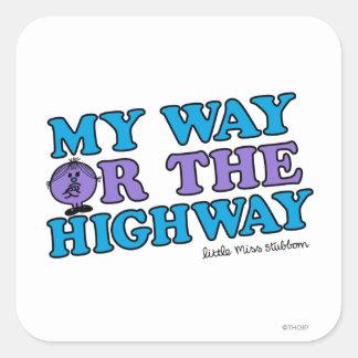 Mi manera o la carretera pegatina cuadrada