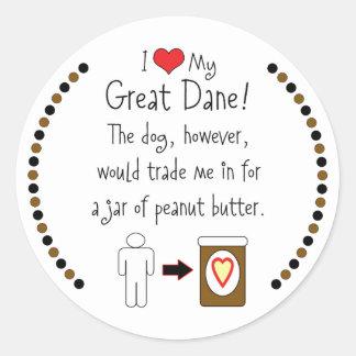 Mi mantequilla de cacahuete de los amores de great etiqueta redonda