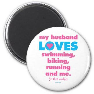 Mi marido ama los Triathlons (el texto solamente) Iman Para Frigorífico