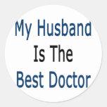 mi marido es el mejor doctor pegatinas redondas
