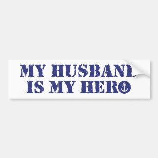 Mi marido es mi héroe pegatina para auto