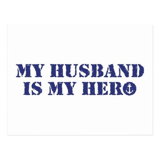 Mi marido es mi héroe tarjeta postal