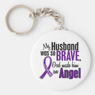 Mi marido es un cáncer pancreático del ángel llavero personalizado