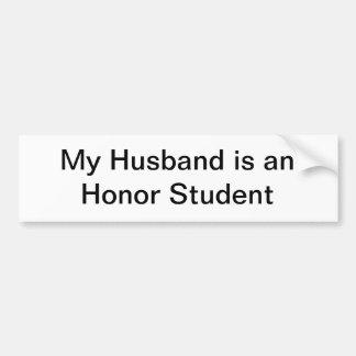 Mi marido es un estudiante del honor pegatina para auto