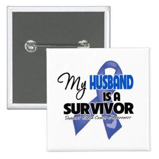Mi marido es un superviviente - cáncer de colon pin cuadrada 5 cm