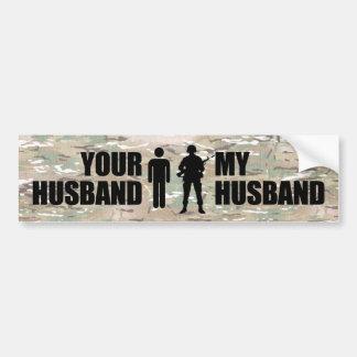 Mi marido está en los militares pegatina para auto