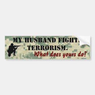 Mi marido lucha terrorismo pegatina para auto