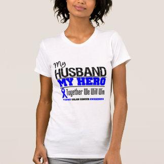 Mi marido mi cáncer de colon del héroe camisetas