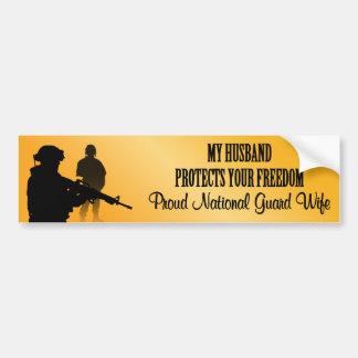 Mi marido protege su libertad Guardia Nacional W Etiqueta De Parachoque