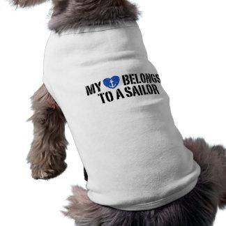 Mi marinero del corazón playera sin mangas para perro