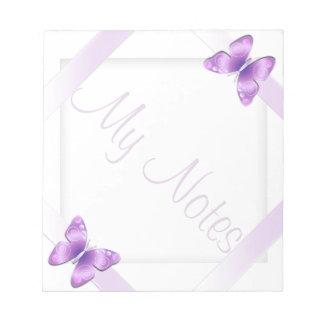 Mi mariposa femenina de la lavanda de las notas bloc de papel
