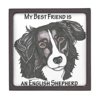 Mi mejor amigo es pastor inglés negro y blanco cajas de recuerdo de calidad