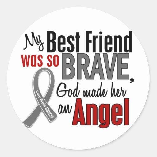 Mi mejor amigo es un cáncer de cerebro del ángel 1 pegatinas redondas