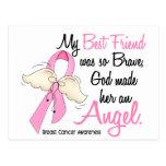 Mi mejor amigo es un cáncer de pecho del ángel 2 tarjeta postal