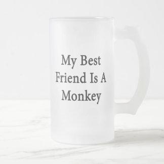 Mi mejor amigo es un mono taza de cristal