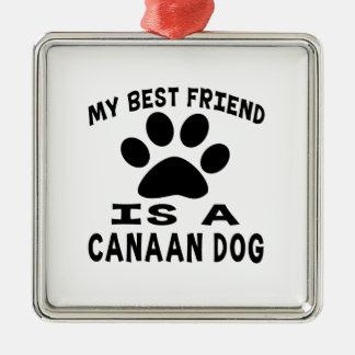 Mi mejor amigo es un perro de Canaan Adorno Cuadrado Plateado